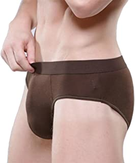 JSYAU Men's Modal Pure Color Low Waist Underwear Relaxed Fit Breathable Moisture Wicking Briefs