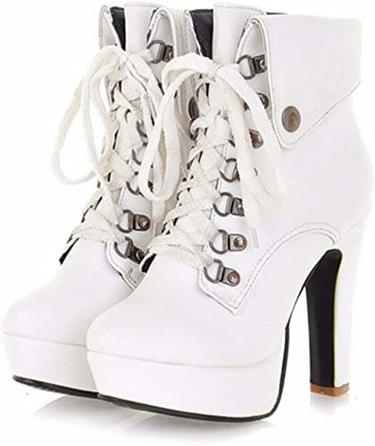 KAFEI Los zapatos de tacón alto hembra 12cm de grosor con atadura girar cabeza rojoonda 31-43 citas edge