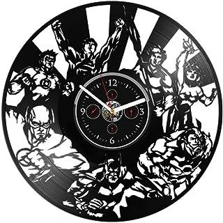 Horloge murale en vinyle pour enfants Batman Wonder Woman DC Comics Cadeau disque vinyle 12 pouces Horloge murale DC en vi...