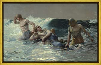 Winslow Homer Framed Giclee Canvas Print Paintings Poster Reproduction(Undertow) #XLK