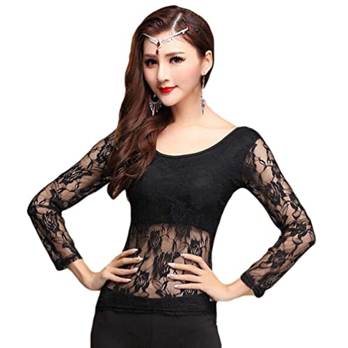 821c5a8d47053 YiJee Women Belly Dancing Costume Tops Belly Dance Lace Blouse