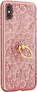 Xs Case Glitter Xphone Compatible with iPhone X Cases Kickstand iPhonex Bling X S Cases 10s Luxury Ring Holder I-phone Sx Ipx Cover Girly Bling 3D Diamond Aphone x-s 10 Finger for Girl (Rose Gold)