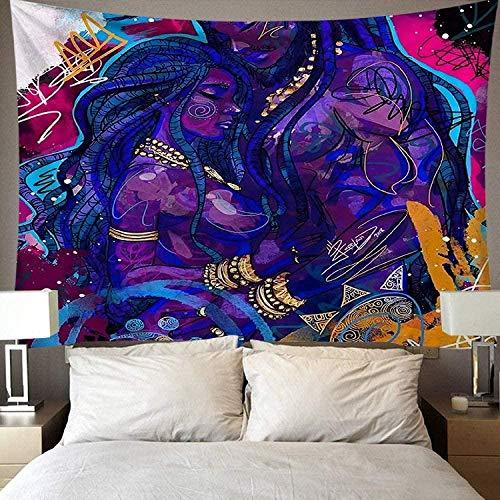 giyiohok Pareja india creativa Tapiz impreso Colgante de pared Estera de playa de gran tamaño Colcha Decoración para el hogar Tapiz Manta Cojín para dormir 150 cm X 200 cm-El 180CMx230CM