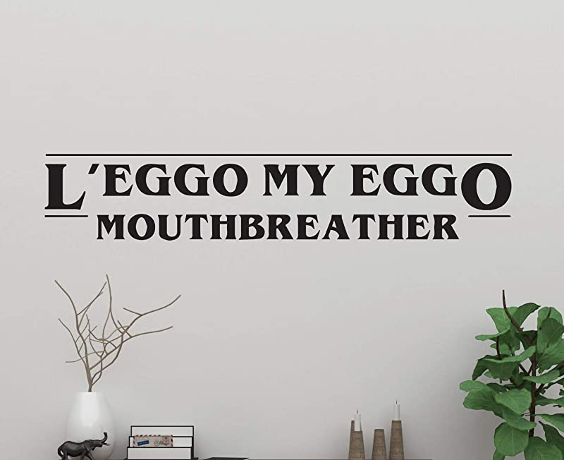 ManukaDesigns Stranger Things Quote Wall Decal L Eggo My Eggo S Mouth Breather Vinyl Phrase Thrilling Netflix Original Drama Bedroom Living Any Room Home Decoration CG535 42 Width X 16 Height