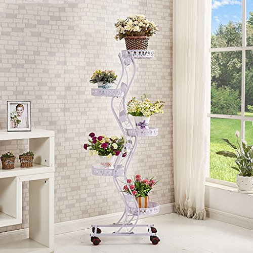 Tie - Style Wheel Flower Stand Floor - Style Flower Frame de lit Salon Balcon Shelf 5 couches (47 * 143cm) (Couleur : Blanc)