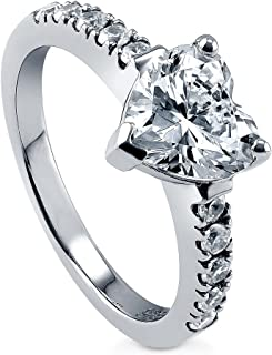 Rhodium Plated Sterling Silver Cubic Zirconia CZ Solitaire Heart Promise Engagement Ring 2 CTW