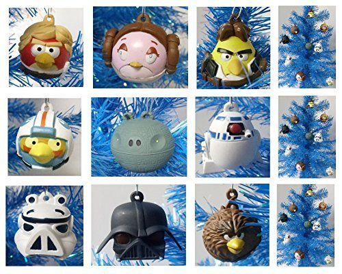 Angry Birds Star Wars 9 Piece Holiday Christmas Ornament Set Featuring Luke, Chewbacca, Stormtrooper, C3PO, Darth Vader, Obi Wan, Princess Leia, Yoda, Han Solo, and R2D2 - Shatterproof Plastic Ornaments Range from 2 to 3' Tall'