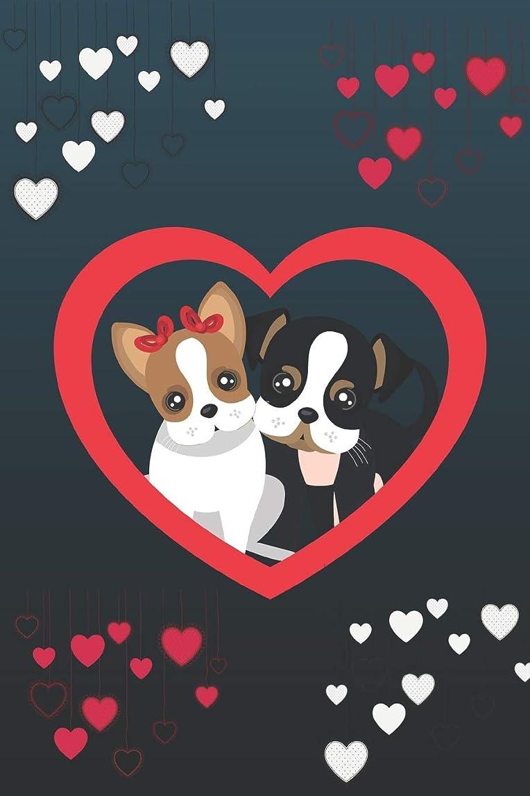 公爵夫人平凡満州Puppies in Love: 130 page Blank Line Journal for Writing, Note-Taking and Doodling