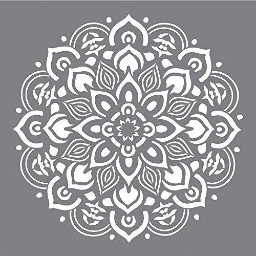 Rayher 38969000 Schablone Mandala, 30,5 x 30,5 cm, Motivgröße ca. 26,5 cm, Polyester, lasergeschnitten, biegsam, wiederverwendbar, Malschablone, Wandschablone Kunststoff