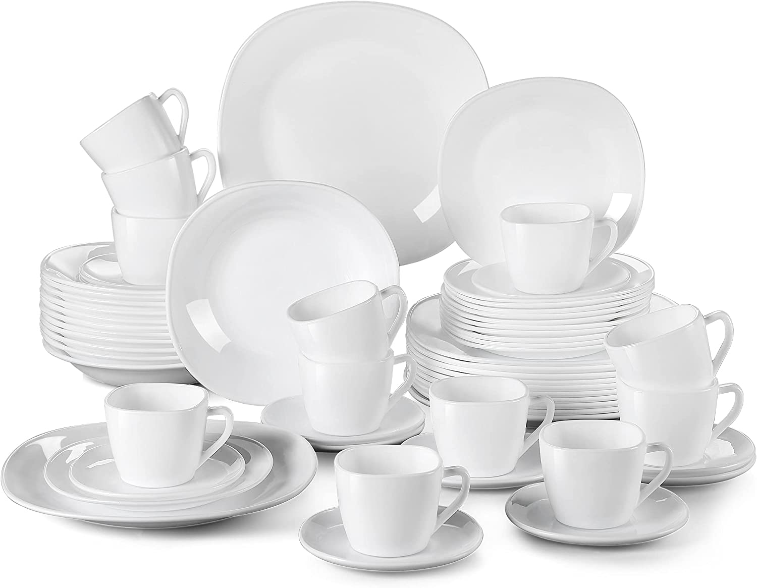 JL819 30 60-Piece Opal Glass Our shop most popular Dinner P Max 51% OFF Set Plate With Soup