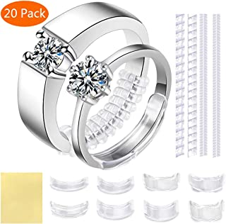 Ring Size Adjuster for Loose Rings - 20 Pack 7 Sizes Invisible Jewelry Sizer, Mandrel for Making Jewelry Guard, Spacer, Sizer, Fitter - Spiral Silicone Tightener Set