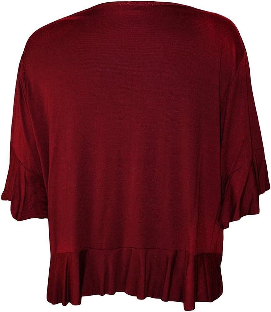 RM Fashions Women's Plus Size Frill Tie Bolero Shrug Cardigan - Wine - US 18-20 (UK 22-24)