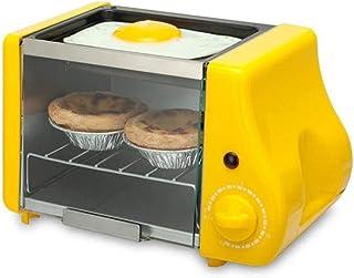 Mini horno eléctrico multifunción para hornear, asar, horno frito, para desayuno, tortilla, huevos, sartén, pan, tostadora, color amarillo