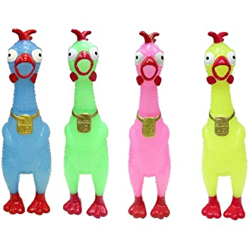 Novelty Squeaky Toy Chicken 2-Pack Random Colors Animolds Squeeze Me Glow in The Dark Rubber Chicken Toy Screaming Rubber Chickens for Kids