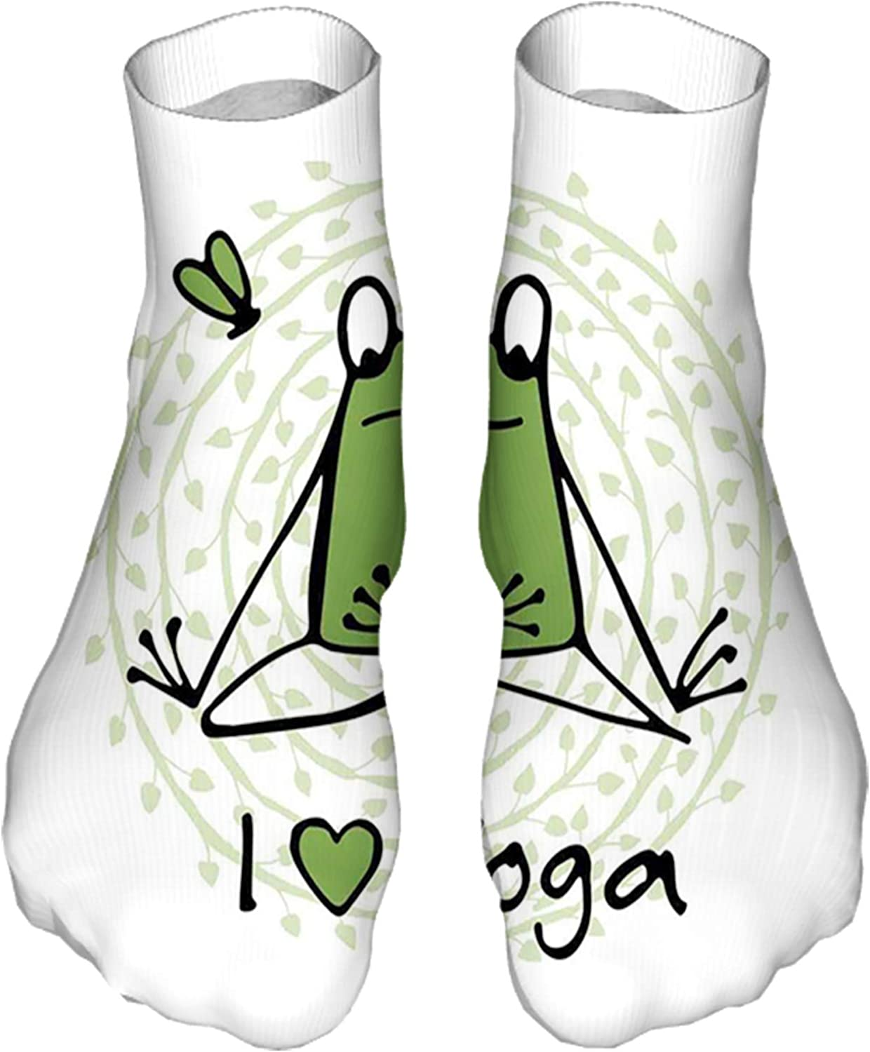 Women's Colorful Patterned Unisex Low Cut/No Show Socks,Funny Cartoon Character Sketch Style Animal with I Love