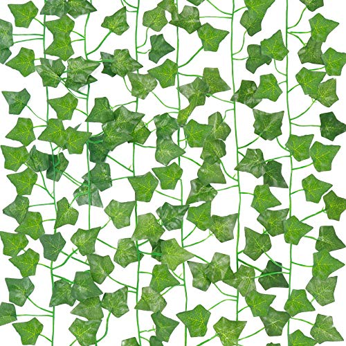 COCOBOO Fake Vines for Room Decor 6pcs Fake Leaves Artificial Ivy, Silk Ivy Garland Greenery Hanging Plant for Wedding Wall Party Bedroom Aesthetic Decor