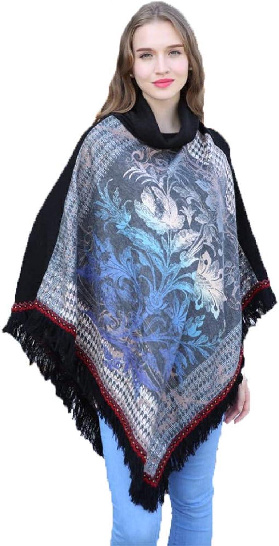 Winter Warm Sweater Coat Cape Wrap Women's Soft Poncho Sweater, Elegant Fringe Cape Shawl in MultiWay Neck Style