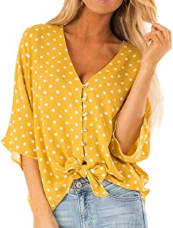 Newlyblouw Fashion Tops,Women Summer Casual Sexy Dot Print Shirt Short Sleeve Popular Button Knot Slash Neck Soft Blouse Tee