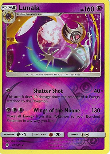 Pokemon Sun & Moon Guardians Rising Lunala 61/145 Reverse Holo card