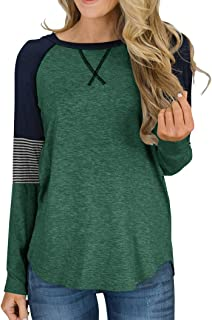Women's Color Block Round Neck Tunic Tops Casual Long Sleeve and Short Sleeve Shirt Blouse