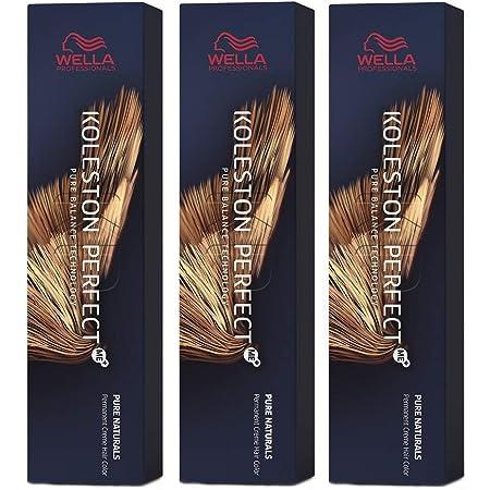 Wella Koleston Perfect Me+ KP Pure Naturals 7/07 - Pack de 3 unidades, color rubio medio natural y marrón