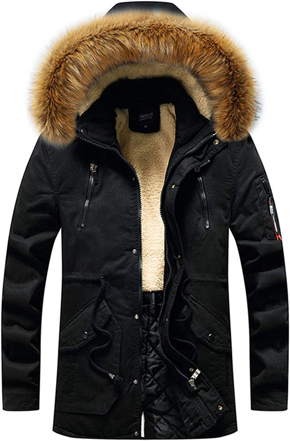 PAODIKUAI Men's Sherpa Lined Hooded Parka Coat Quilted Parka with Faux Fur Trim