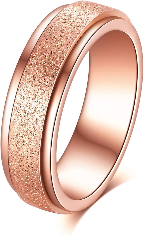 Tornito Stainless Steel Spinner Ring Engagement Wedding Band for Women Sand Blast Finish Step Edge Sleek 6MM