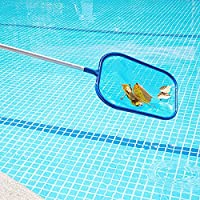 KKFG Pool Hand Leaf Skimmer Net with 17-41 inch Telescopic Pole Leaf Skimmer Mesh Rake Net