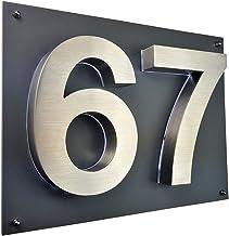 Placa met/álica Decorativa dise/ño con n/úmero de casa 27 Color Azul y Blanco 12 x 14 cm FS Emaille