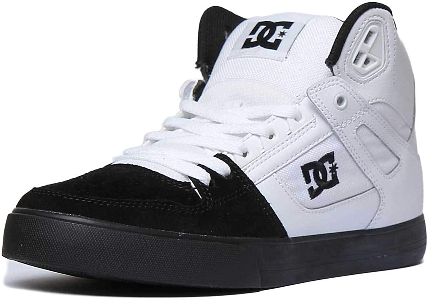 DC shoes Pure High Top Womens Leather Mesh Trainer in White Black