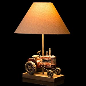 Glitzhome 18.9''H Table Lamp-Farmhouse Rustic Design,Traditional Elegant Polyresin Tractor and Wooden Base with Neutral Lampshade&Soft,Ambient Lighting Perfect for Living Room,Office