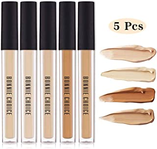 BONNIE CHOICE 5 Colors Waterproof Liquid Concealer, Full Coverage Matte Finish Creamy Concealer Foundation for Dark Eye Circles Face Concealer Dark Circle Cover