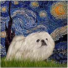 CafePress Starry/Pekingese(W) Tile Coaster, Drink Coaster, Small Trivet