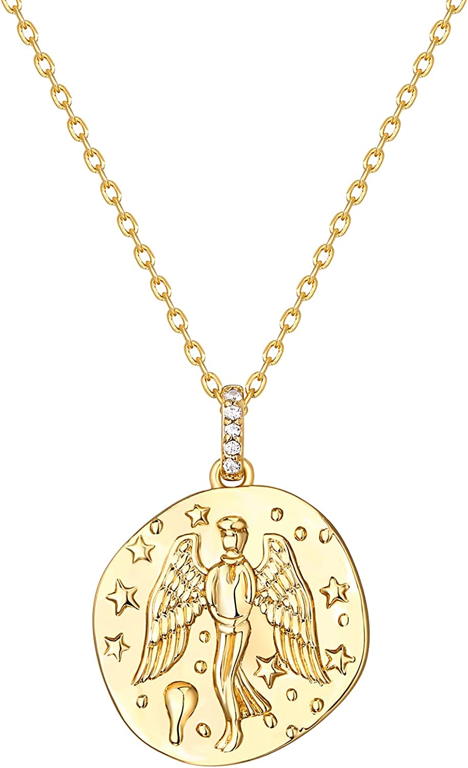 PAVOI 14K Gold Plated Necklace for Women | Jewelry for Women | 19x1.0x18.6MM Pendant Coin with Engraved Angel | Yellow Gold