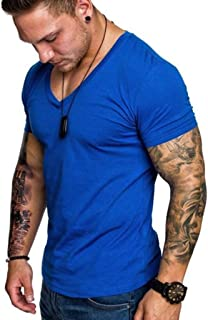 Save15% BBesty Men's Summer Fashion Casual Solid Color V-Neck Short Sleeve Joker Sports Fitness Top T-Shirt Tops Blouse