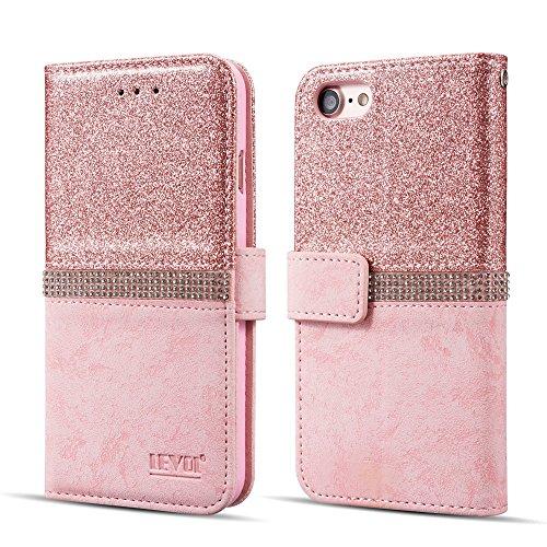 LEVOL Hülle für iPhone 6 6S Hülle,Bling Glitzern Funkeln Diamant Leder Brieftasche Handyhülle [Standfunktion] [Kartenfächer] [Magnetverschluss] Flip Schutzhülle iPhone 6/6S [Roségold]