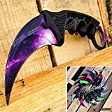 CSGO Karambit Advanced Tactical Knife Survival Knife Hunting Knife Fixed Blade Knife Razor Sharp Edge Camping Accessories Camping Gear Survival Kit Survival Gear 51763 (Galaxy)