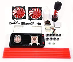 DIY 240mm Water Cooling Kit, LED Fan+CPU Block+GPU Block+Cylindrical Water Reservoir+Water Pump Computer Water Cooling Con...