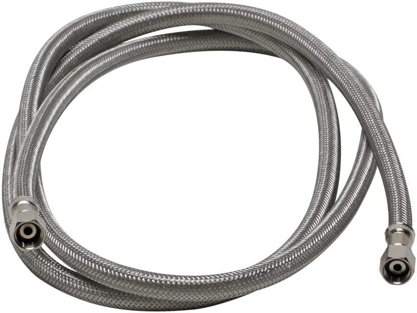 Braided Stainless Steel Ice Maker Connector Water Line with Dual 1/4-In. x 1/4-In. Female Compression Threads, 6 Ft. (72-in.) Length - 1