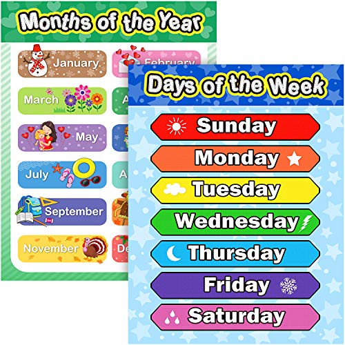 Extra Large Preschool Educational Learning Posters for Kids Toddlers, Nursery Homeschool Pre-K Kindergarten Classroom Decoration, 17 x 22 Inch (2 Pieces, Days of the Week, Months of the Year)