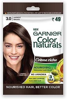 Garnier Color Naturals Crème Riche Sachet, Shade 3, Darkest Brown, 60