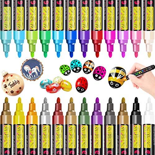 Rotuladores de pintura acrílica RATEL 24 colores Prima Impermeable Permanente Rotuladores para pintura rupestre, proyectos de bricolaje, cerámica, vidrio, lienzo, taza, metal, madera-Consejo medio