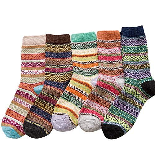 Dawwoti 5 Paare Frauen-Mannschaft Socken-Geschenke Anti-Rutsch-Socken Weihnachtsgeschenk Freie Größe Anti-Slid Socke