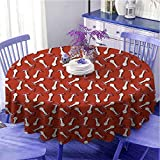 Mantel redondo con diseño de setas y diseño de otoño con Amanita Muscaria Psicodélico Alimentos Bosque Bosque Suave al tacto Diámetro 55' Burnt Sienna Rojo Blanco