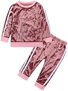 MYGBCPJS 2Pcs Fashion Toddler Baby Girl Velvet Sweatshirt Tops Pant Set Tracksuit