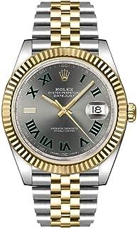 Datejust 41 Slate Dial Men's Luxury Watch on Yellow Rolesor Jubilee Bracelet 126333