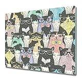 Coloray Tabla De Cortar Placa De Induccion 60x52cm Protector Vidrio Templado Cocina Para Servir Platos - Hipster lindo gatos