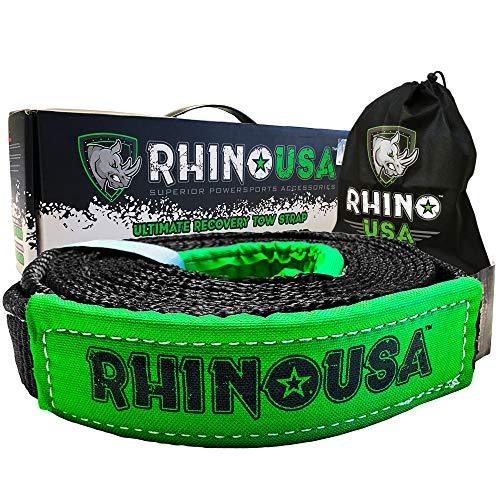 Rhino USA Recovery Tow Strap 2' x 20ft - Lab Tested 20,933lb Break Strength - Heavy Duty Draw String Bag Included - Triple Reinforced Loop End to Ensure Peace of Mind - Emergency Off Road Towing Rope