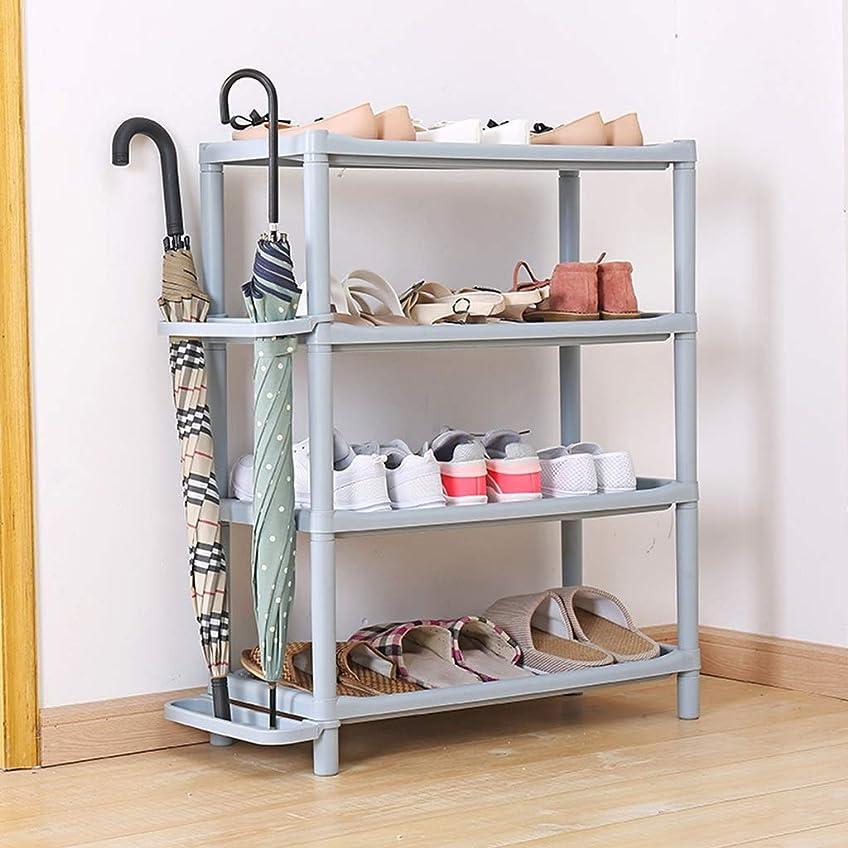 散歩に行く想起半導体ZXFBM プラスチック製の靴ラックシンプルな多層寮の靴収納ラックホームシューズキャビネット (Color : Gray)