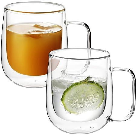 VKCHEF ダブルウォール グラスカップ 300ml 二重構造 耐熱ガラス マグカップ グラスカップ ティーカップ タンブラー 透明コーヒーカップ おしゃれ 保温 保冷 エスプレッソ カクテル ドリンク お茶 コーヒーカップ 取っ手付 2個セット 食器 オフィス 家用 プレゼント